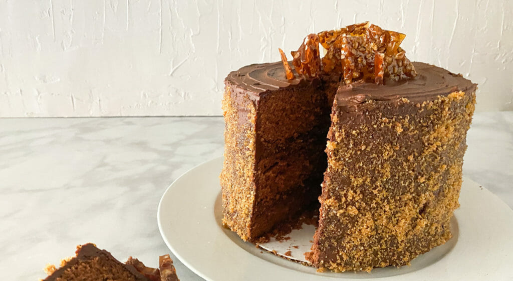 Chocolate Buttermilk Cake with Pecan Praline Candy & Whipped Chocolate Ganache