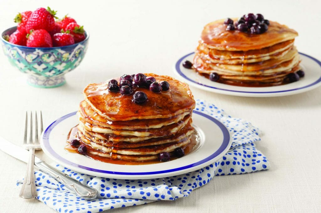 Strawberry Buttermilk Pancakes with Blueberry Maple Syrup
