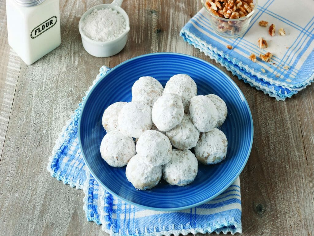 Stack Of Snowball Cookies Made With Cake Flour