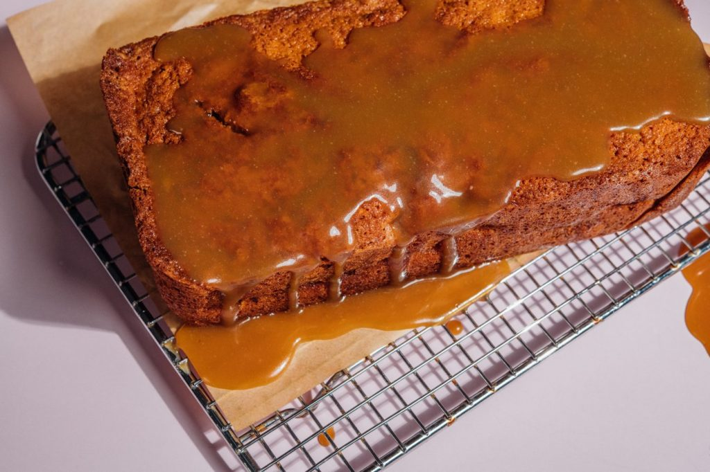 Apple Fritter Loaf With Salted Caramel Glaze
