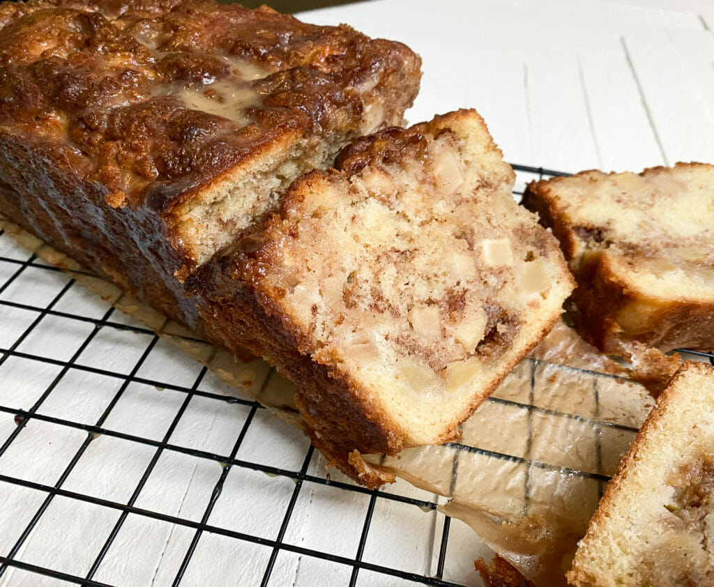Apple Fritter Loaf With Salted Caramel Glaze