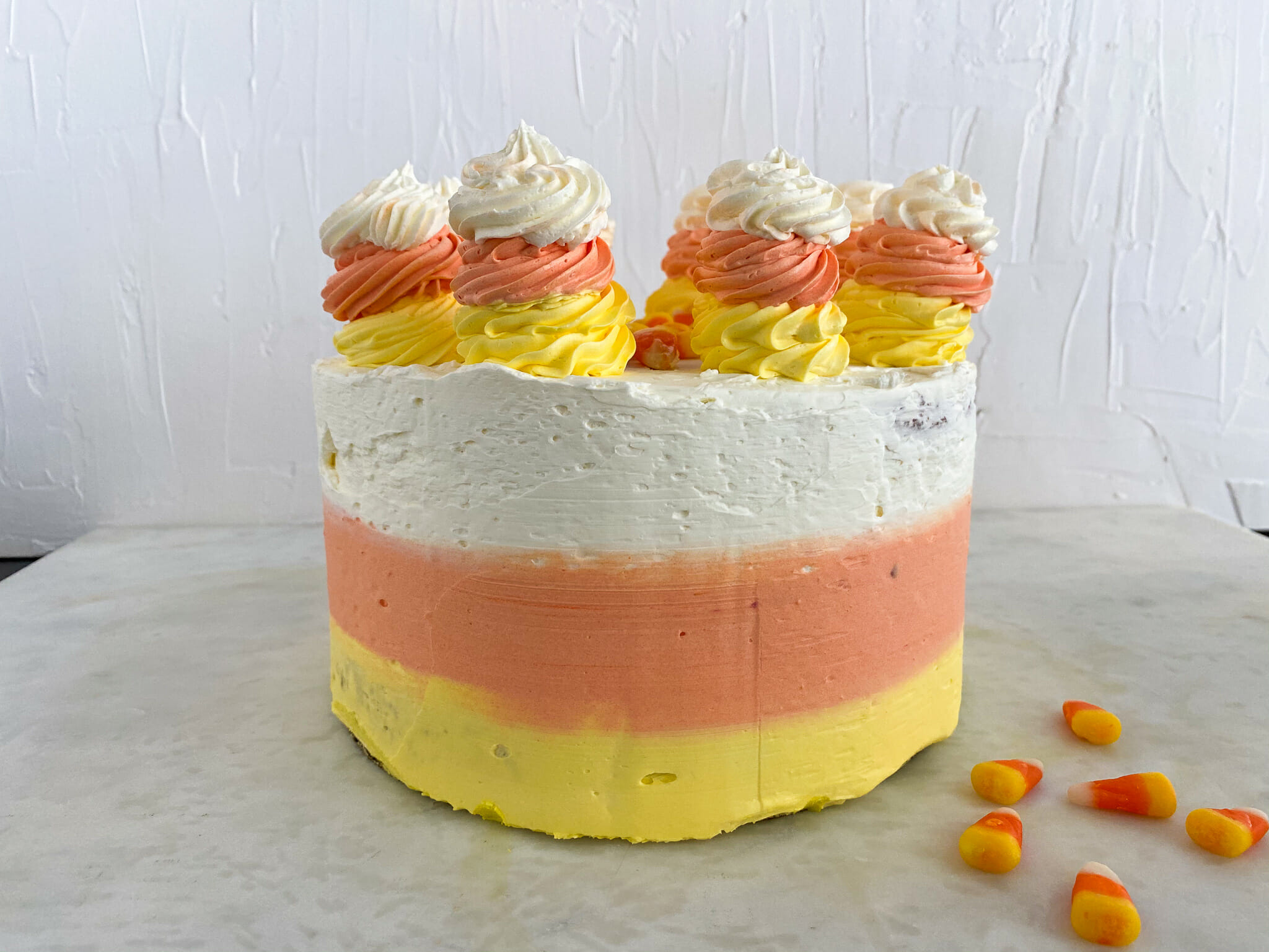 Candy Corn Cake With Candy-Color Frosting