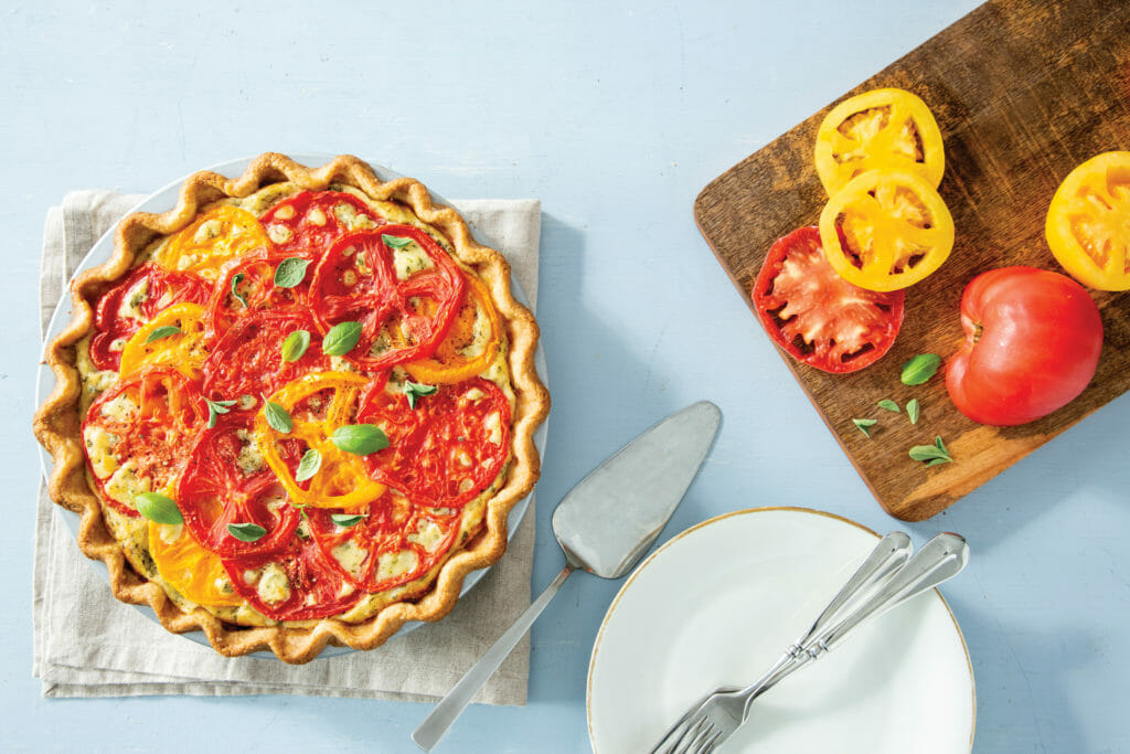 Cheesy Heirloom Tomato and Herb Pie