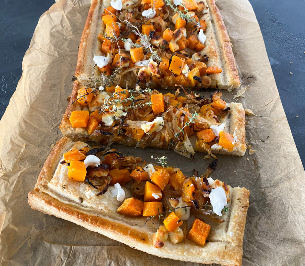 Roasted Butternut Squash, Caramelized Onion and Goat Cheese Tart