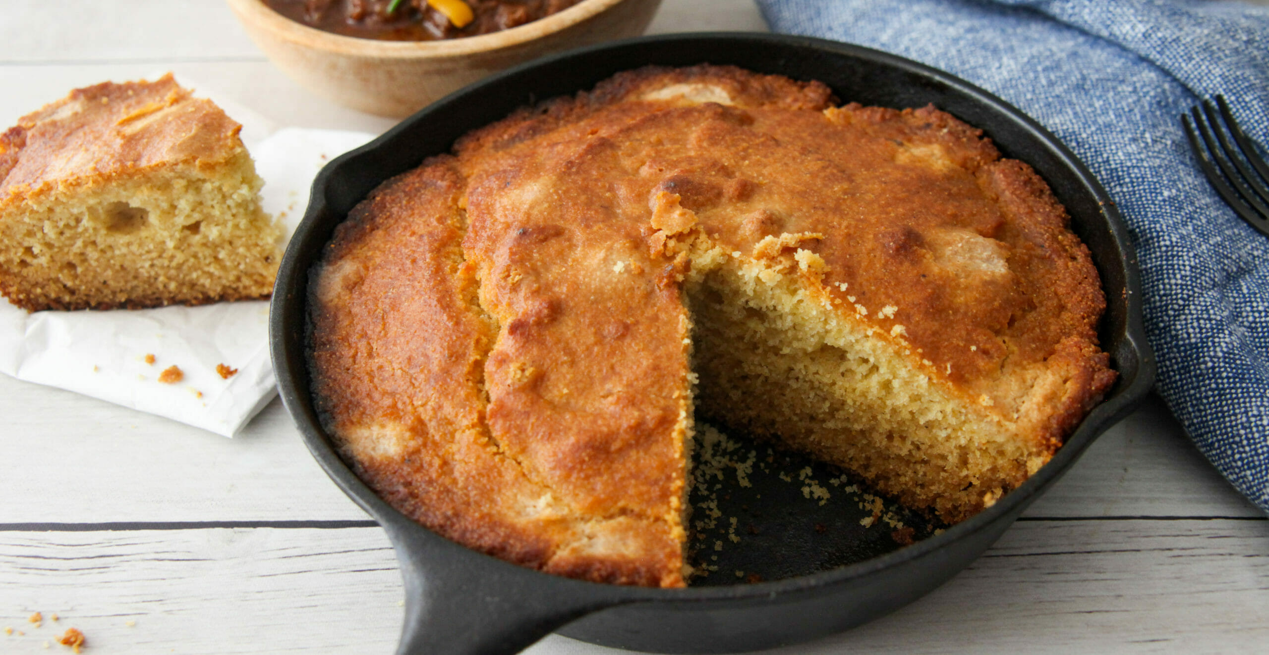 Cornbread Made With Cake Flour In Cast Iron Pan