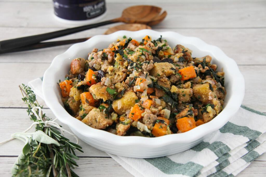 Butternut Squash, Kale and Pumpkin Brioche Stuffing