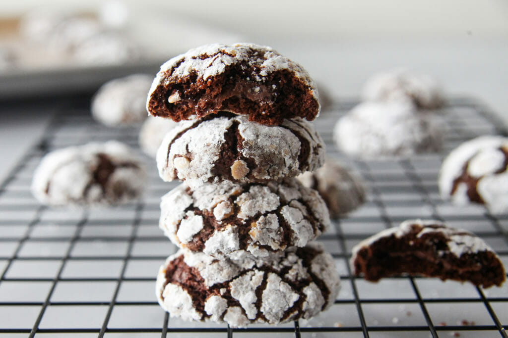 Nutella-Stuffed Chocolate Crinkle Cookies