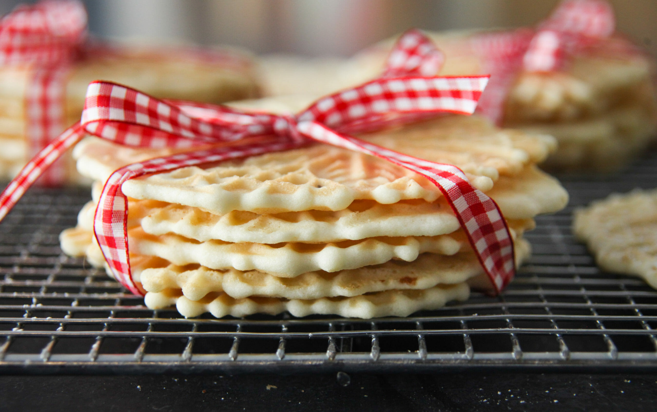 Stack Of Pizelles Made With Cake Flour