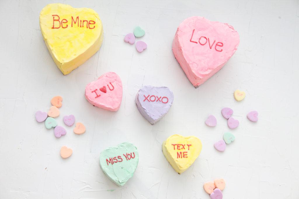 Mini Conversation Heart Cakes