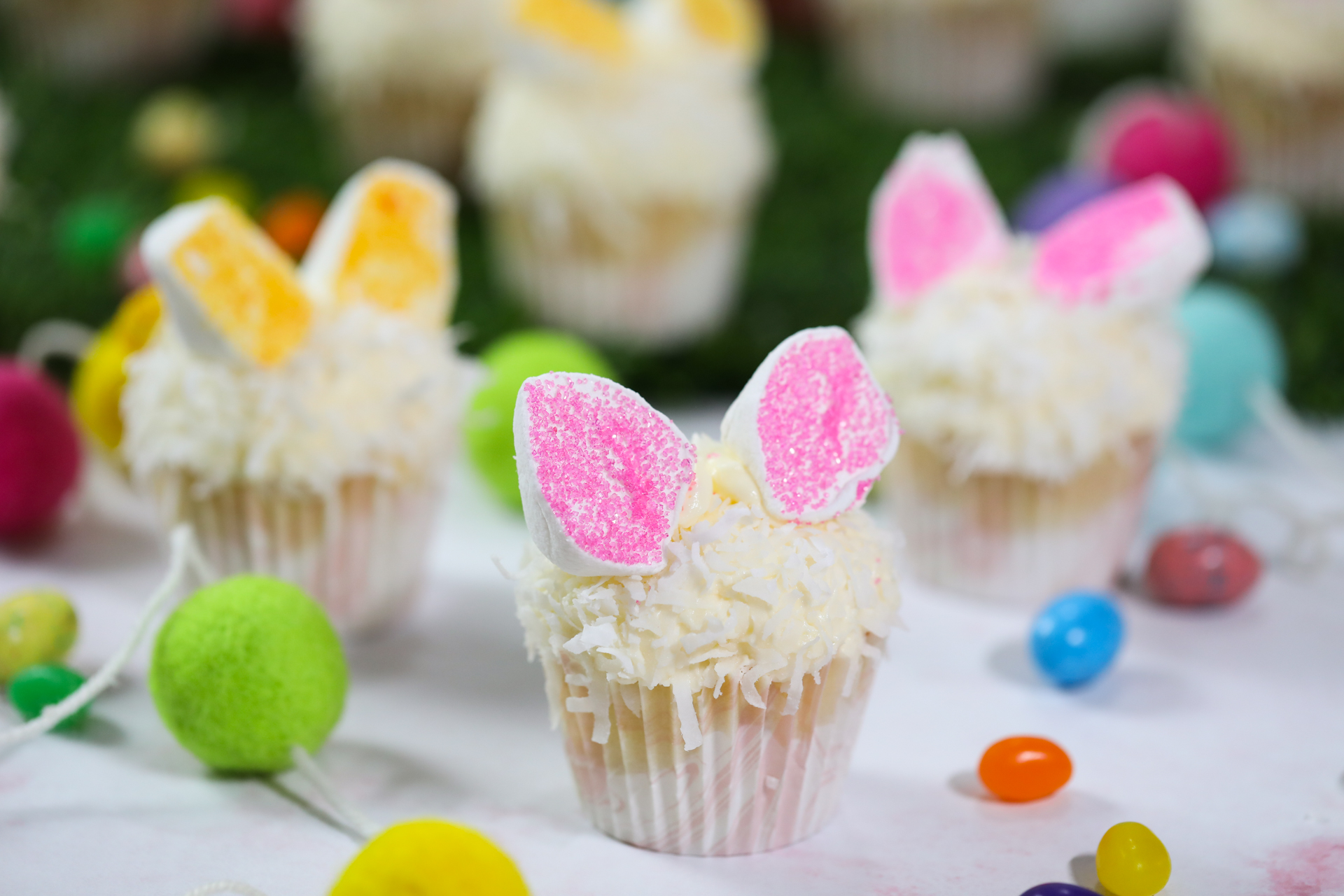 Bunny Cupcakes With Pink And Yellow Sprinkles