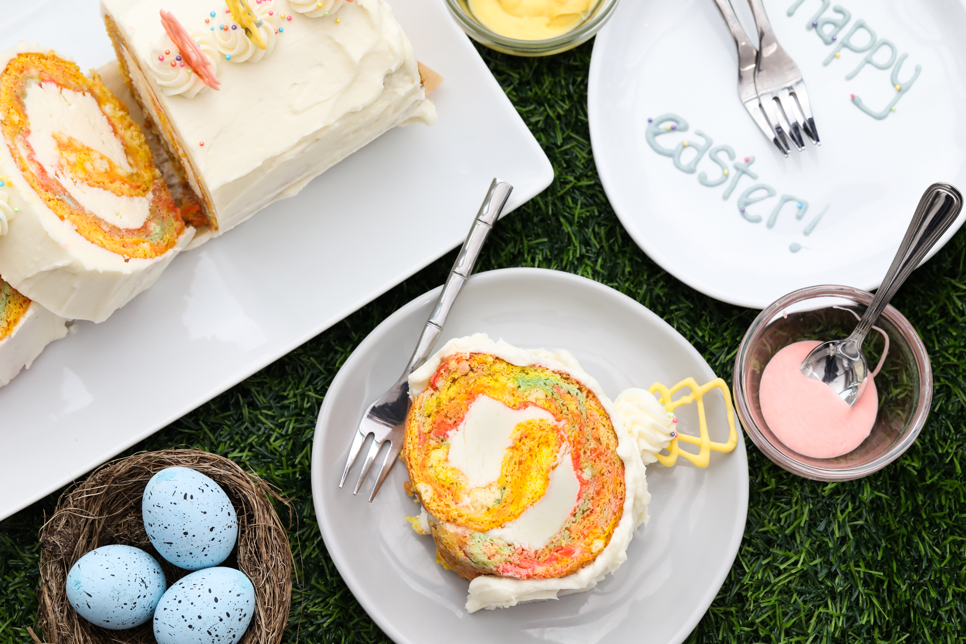 Colorful Swiss Roll Cake On Cake Plate