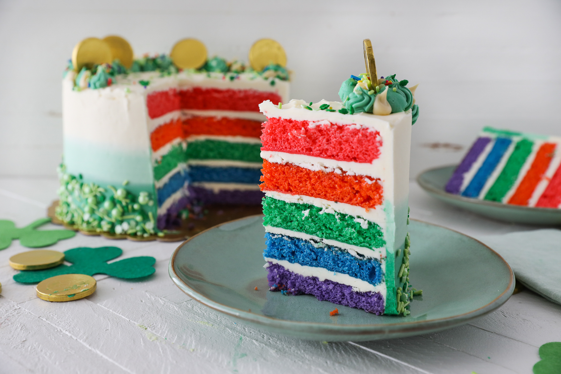 Rainbow Cake With Plated Slices
