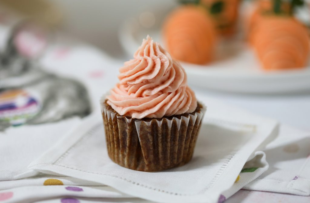 Carrot Cake Cupcakes with Strawberry Mascarpone Frosting