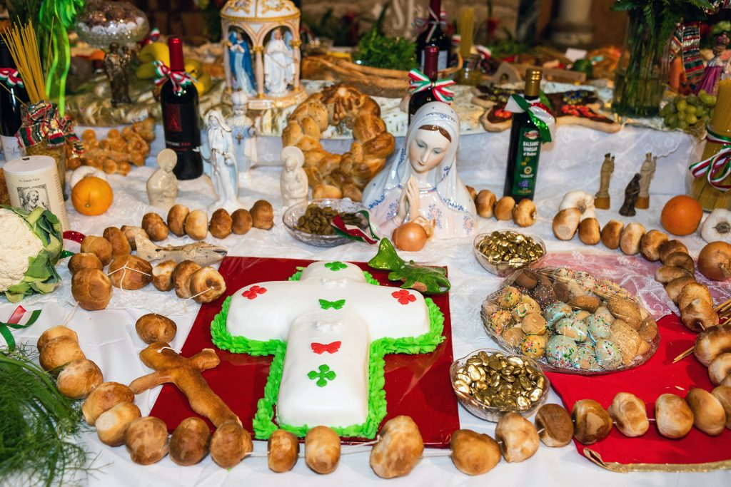 Cross-Shaped Cake With Green And Red Frosting On St. Joseph's Day Altar