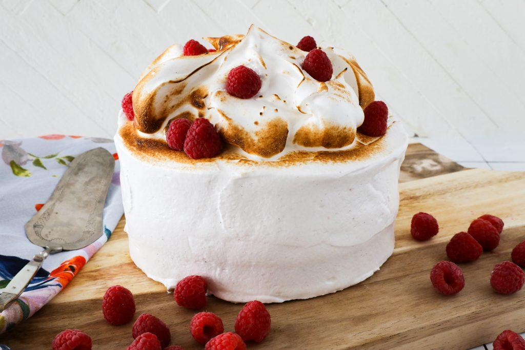 Raspberry Cake with Vanilla Bean Meringue