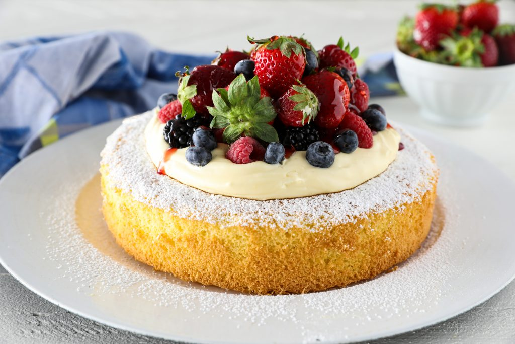 Classic Genoise with Lemon Curd Mousse and Fresh Berries
